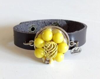 Yellow Bracelet, Leather Bracelet, Snap Bracelet, Leather Cuff, Cuff Bracelet, Yellow Jewelry, Recycled Bracelet, Upcycled Jewelry,Wholesale