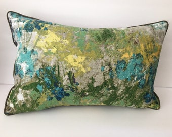 Green Blue Grey Watercolor Decorator Throw Pillow with Insert