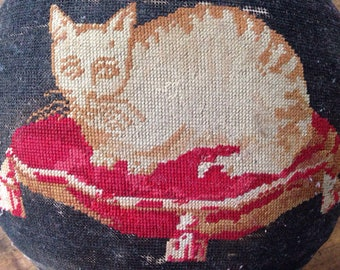 Cat on a cushion, needlepoint, embroidered footstool, 19th C, French, ginger cat, red cushion