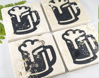 BEER COASTERS, Beer Gift, Stone Coasters, Groomsman gift, Beer lover gift, bar coasters, craft beer gift, beer accessories, party coasters