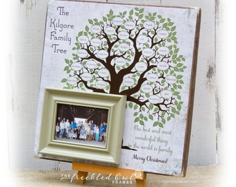 Family Tree Wall Art, Wood Sign, Family Tree Frame, Handmade Family Name Sign, Christmas Gift, Parent's Anniversary, Family Tree Wall Decor