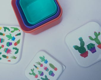 Set of 3 Cute colourful cactus lunch boxs snack pots storage pots tuppaware picnic pots meal prep cactus gifts