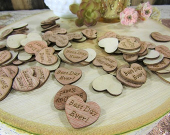 "100 ""Best Day Ever!"" Hearts ~ 1"" Wood Hearts ~ Wedding Decor ~ Wedding Confetti ~ Wooden Confetti ~ Wedding Invitations"