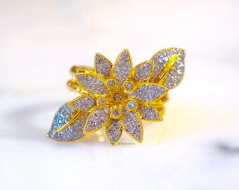 14K Gold Floral Diamond Ring