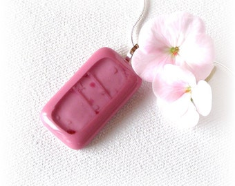 Dusty Rose Fused Glass Pendant Necklace - Fused Glass Jewelry - Pink Rectangular Glass