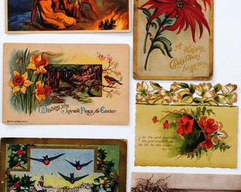 6 VICTORIANA POSTCARDS, All Unused