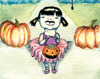 Trick or Treat Ballerina Halloween Cards - Set of 5 Illustrated Blank Halloween Greeting Cards