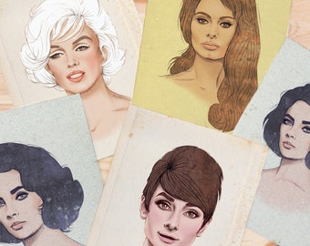 SALE - Hollywood Fashion Illustrations, Wall Art Print by Rachel Corcoran - Audrey Hepburn, Marilyn Monroe, Elizabeth Taylor, Sophia Loren