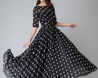 Polka dot dress, summer dress, Black And White Polka Dot Maxi Dress, chiffon dress, womens dresses, maxi dress,  prom dress (1534)