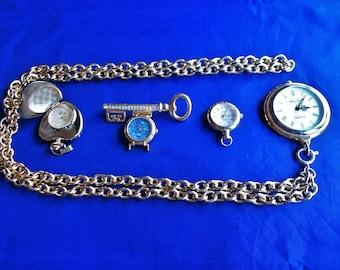 Nice Lot of 3-Pendant Quartz Watches & 1-Broach Quartz Watch