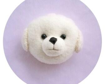 Bichon Frise Puppy Felt brooch, Kawaii Bichon Frise Dog Handmade Pin, Cute Bichon Pup Felt Brooch for Dog Lovers