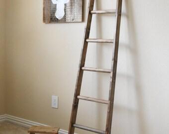 5 Ft Tapered rustic ladder, repurposed ladder, Farmhouse Quilt ladder, Cottage Chic Blanket Ladder
