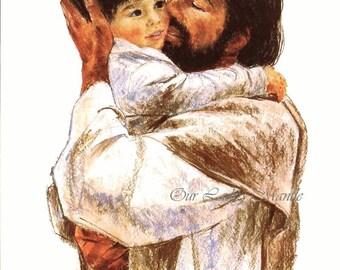 LOVE, Jesus Christ Holding Child ~ 8x10 Picture Art Print by Richard & Frances Hook