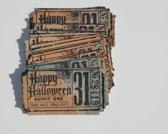 Halloween tickets set of 13, Halloween movie ticket stub, Halloween party ticket