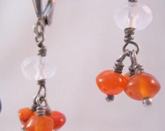 Carnelian & Faceted Quartz Crystal Drop Dangle Earrings Sterling Silver Leverback Pierced Vintage Jewelry Jewellery