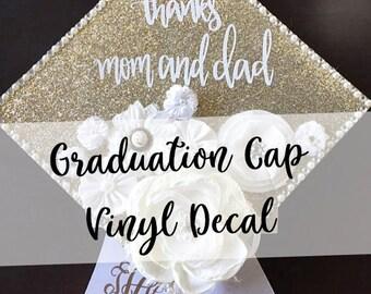 Custom Graduation Cap Decal Customized Graduation Cap Graduation Cap Design Grad Cap Quote