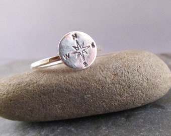 Compass Ring- silver compass ring - graduation gift