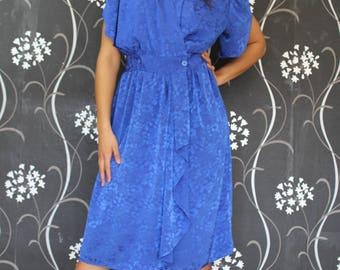 Vintage Dress Size 14 Blue 80's Wrap Dress 80er Kleid 1980's Dress  80's Vintage Dress Womens Party Dress Festive Dress Retro Clothing