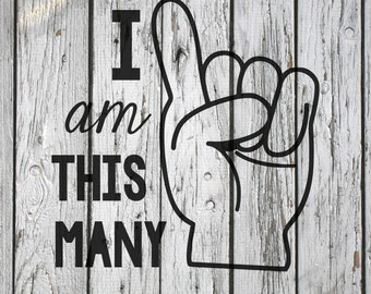 SVG, PNG, Studio3 Cut File, I am This Many One, Silhouette Cut File, Cricut Cut File, Birthday