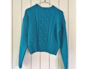 1980s Vintage Christina Dark Turquoise Cable Knit Boxy Sweater Size Small