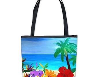Tropical beach coastal bucket tote bag from my art