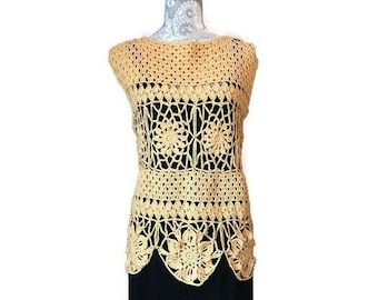 Handmade Crochet Top in a Creamy Yellow