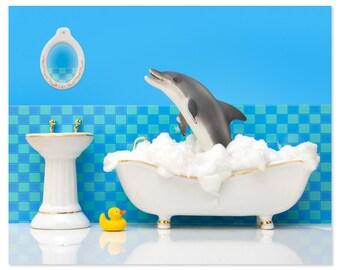 Bathroom decor animal art print with dolphin: Splashdown