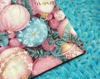 70 x 13 Pastel Christmas Ornaments/Vibrant Blue/Gold Reversible Table Runner