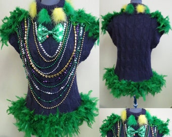 Mardi Gras Top, Mardi Gras Feather Boa Trim, Mini Dress,  Mardi Gras Knit Top, Size L, Light UP Shirt, Light Up Sweater, NOLA, Fat Tuesday