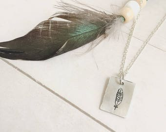 Inexpensive Gift for friend, Silver Feather Necklace, Small Boho Pendant, Simple charm, bohemian, rustic, everyday jewelry, birthday gift