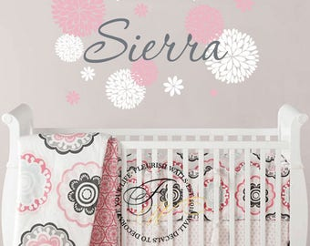 Name Wall Decal Girl - Dahlia Flower Wall Decal Stickers - Baby Girl Nursery Decal - Girl Name Decal - Personalized Vinyl Wall Decal GN062