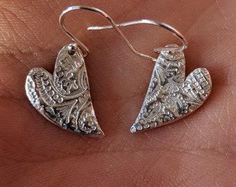 Whimsical henna patterned heart earrings