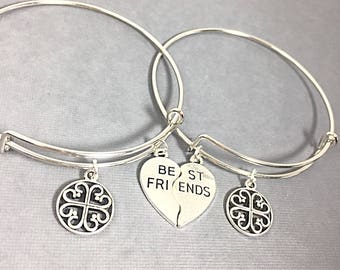 SET OF 2 Personalized Best Friend Bangle Bracelet, Best Friend Charm Bracelet, Friendship Jewelry, Bracelet set of 2,  Friends Forever