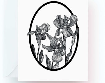 Pen and Ink Art, Flower Note Cards, Iris Note Cards, Flower Lover Gift, Flower Stationery, Note Cards, Stationery, Floral Note Cards