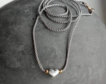 Fine, minimalist chain of cord with heart of sterling silver/rose gold filled beads/length selectable/love/gift for you