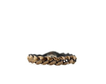 Braided Leather Bracelet / Pyrite