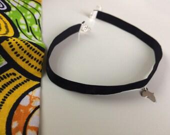 Red or Black velvet choker with Africa pendant