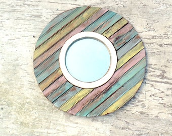 Circular Mirror, Nautical Mirror, Reclaimed Wood Mirror, Rustic Mirror Florida Mirror, Pastel Mirror, Porthole Mirror,Round Mirror