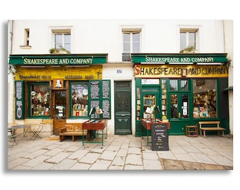 Paris Photograph on Canvas - Shakespeare and Company, Paris Photo  French Travel Photograph, Large Wall Art