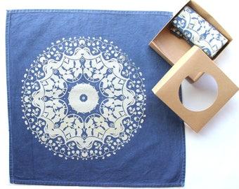 Navy Blue and Gold Cloth Napkins Metallic Gold Mandala Print Foodie Gift Ideas Yogi Gift Ideas Yoga Kitchen Decor Yoga Party Mandala Kitchen