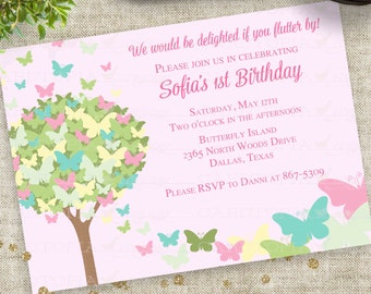 Butterfly Birthday Party Invitation in Pink Green Blue Personalized Custom Digital File with Professional Printing Option