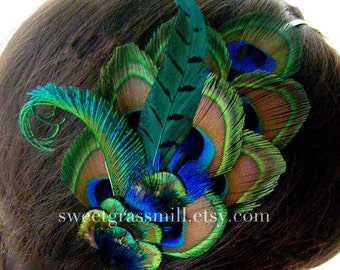 "Peacock Fascinator Luxe Peacock and Pheasant ""Mezzanine"" Headband or Fascinator Clip"