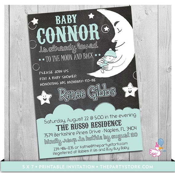 Moon and Stars Baby Shower Invitation Printable I Love You
