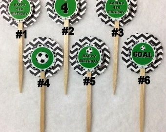 Set Of 12 Personalized 4th Birthday Party Soccer Cupcake Toppers (You Choice Of Any 12)