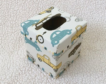 Cambridge Retro Rides TISSUE BOX COVER - Vintage Cars Kleenex Box Cover - Nursery Decor - Made-To-Order