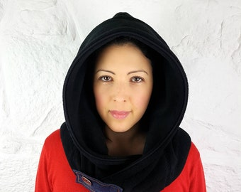 Fleece Hooded Cowl - Black Hooded Scarf - Women fall winter accessories - Casual cosy warm outfits - Gift for her - Scarves for women