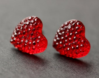 Red Heart Earrings. Silver Heart Earrings. Post Earrings. Sparkle Heart Earrings. Stud Earrings. Handmade Earrings. Handmade Jewelry.