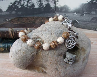 "Bracelet silver original ""Makalu"" Brown and ivory stones"
