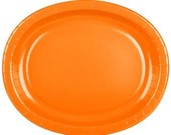 25 (12\ X10\ ) Orange Oval Paper Plate Wedding Supplies Wedding  sc 1 st  Etsy & Orange paper plates | Etsy