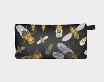 Drosophila Flies Pencil Case Biology Genetics Fruit Fly Insect Art  School Pouch Cosmetic Bag Purse Clutch Accessory Makeup Bag Xmas